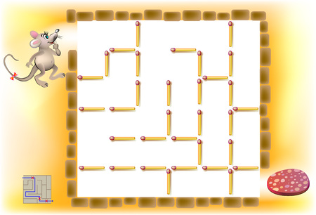 Logic puzzle with labyrinth. Need to remove three matchsticks so that the mouse could walk till the sausage. Vector image. Illustration