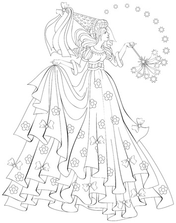Black and white illustration of beautiful fairy holding magic wand for coloring. Worksheet for children and adults. Vector image.