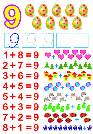 Educational page for children with compositions of number 9. Developing skills for counting. Vector image.