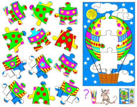 ロジック パズル ゲーム。見つけるし、画像に対応する 3 つの不足している部分を描画します。ベクターの漫画のイメージ。  イラスト・ベクター素材