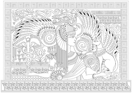 Black and white page for coloring. Drawing of beautiful Egyptian queen between fantastic. Stock Illustratie