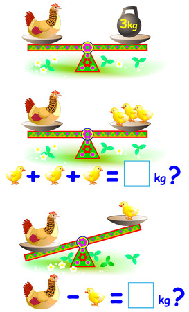 Page with mathematical exercises for young children. Worksheet for study object weight. Vector cartoon image.