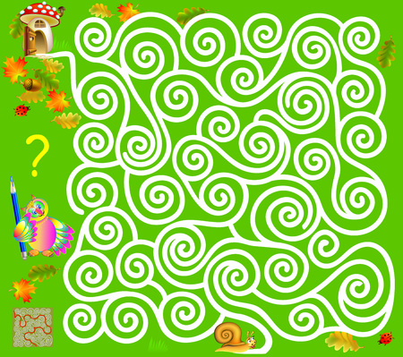Logic puzzle game with labyrinth. Need to draw the way from the snail, till the mushroom. Vector image. Illustration