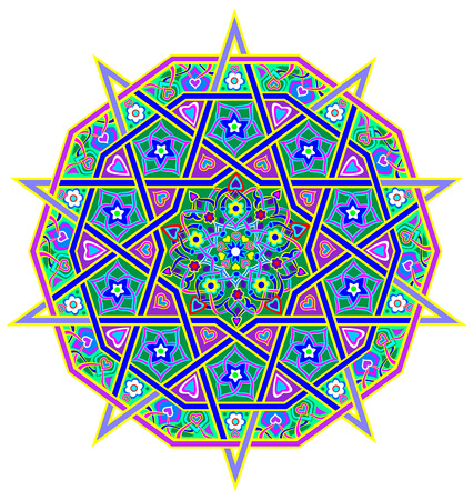 fractals: Fantasy oriental pattern done in kaleidoscopic style. Geometric vector image.