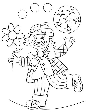 Page with black and white drawing of clown for coloring.