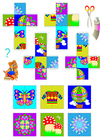 Template with exercise for children. Using scissors and glue need to make four cubes, then put together the pictures of them.