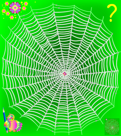 Logic puzzle game with labyrinth. Help the butterfly get out of the web. Need to draw the way till the flower. It is forbidden to cross the nodes. Stock Illustratie