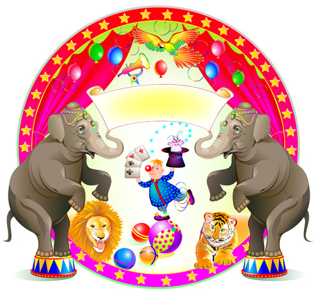 Poster for a circus performance. Spectacle with merry clown and trained animals. Vector cartoon image.