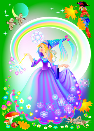 Illustration of beautiful medieval princess. Illustration