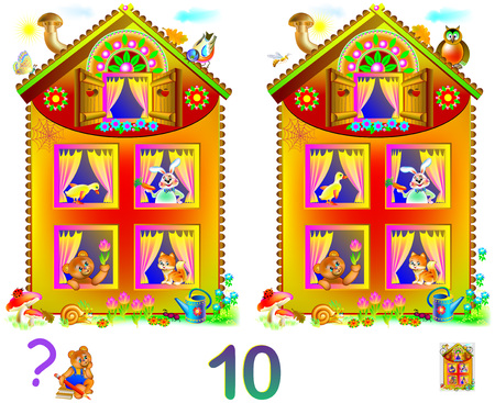 Logic puzzle game for young children. Need to find 10 differences. Developing skills for counting. Vector cartoon image.