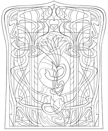 Black and white page for coloring. Drawing of beautiful window with stained glass in Art Nouveau style. Worksheet for children and adults. Vector image.