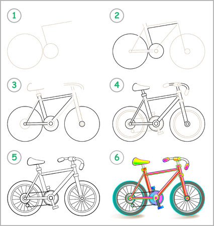 velocipede: Page shows how to learn step by step to draw a toy bike. Illustration