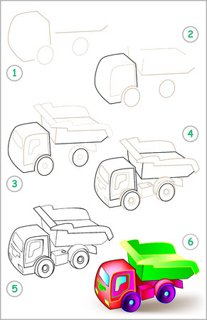 Page shows how to learn step by step to draw a toy tipper truck.
