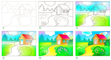 Page shows how to learn step by step to paint a landscape.