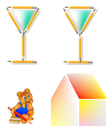 Logic puzzle. Move six pencils to make one house with two glasses. Vector image.