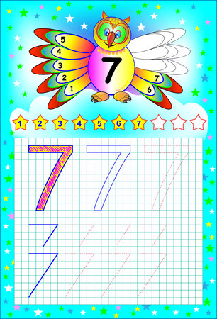 Page 7 with images for young children on a square paper with number 7. Vector image. Illustration