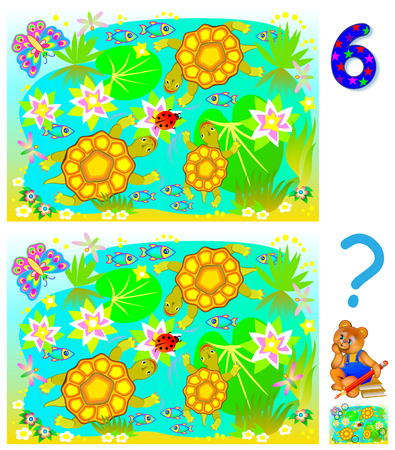 Exercises for young children. Need to find 6 differences. Developing skills for counting. Vector cartoon image. Illustration