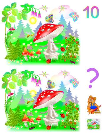 numero diez: Juego de rompecabezas de lógica para niños pequeños. Necesidad de encontrar 10 diferencias. Desarrollando habilidades para contar. Imagen de dibujos animados de vector.
