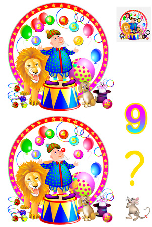 Logic puzzle game for young children. Need to find the nine differences. Vector cartoon image. Vettoriali