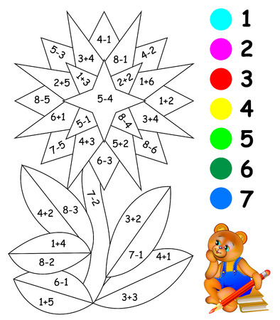 Exercises for children. Need to paint image in relevant color. Developing skills for counting. Vector image.