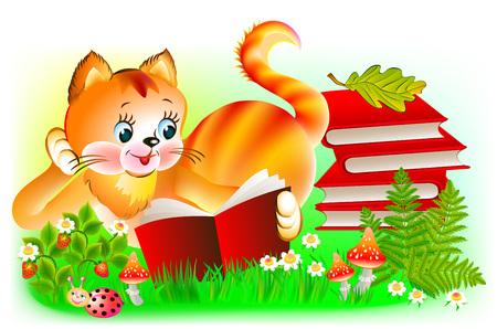 Illustration of happy kitten reading a book, vector cartoon image.