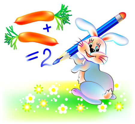 Illustration of a rabbit learning count numbers, vector cartoon image.