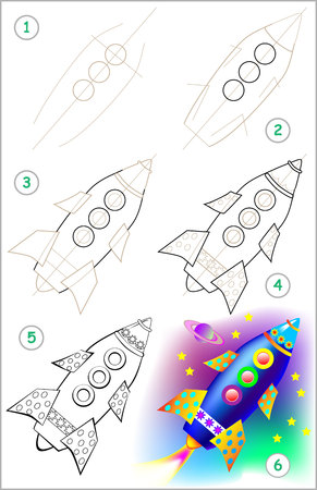 Page shows how to learn step by step to draw rocket. Developing childrens skills for drawing and coloring. Vector image.