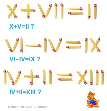 Logische puzzel, beweeg in elke taak 1 luciferspeld om de vergelijkingen correct te maken