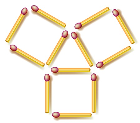 Logic puzzle. Move four matchsticks to make ten squares. Vector image.