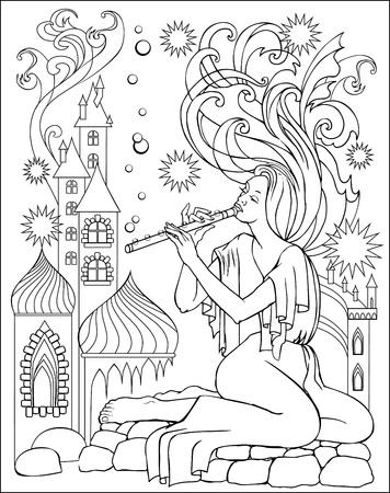 Ilustración Blanco Y Negro De La Hada Jugando La Flauta Para ...