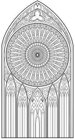 Página com desenho preto e branco da linda janela gótica medieval com vitrais e rosa para colorir. Planilha para crianças e adultos. Imagem vetorial.