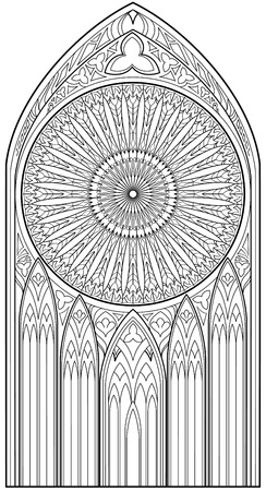 Page with black and white drawing of beautiful medieval Gothic window with stained glass and rose for coloring. Worksheet for children and adults. Vector image.
