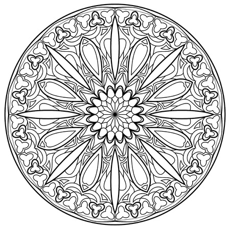 Black and white page for coloring. Fantasy drawing of beautiful Gothic rose window with stained glass in medieval style. Worksheet for children and adults. Vector image.