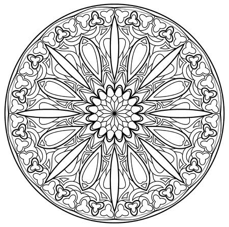 Schwarz-Weiß-Seite zum Ausmalen. Fantasiezeichnung des schönen gotischen rosafarbenen Fensters mit Buntglas in der mittelalterlichen Art. Arbeitsblatt für Kinder und Erwachsene. Vektor-Bild. Vektorgrafik