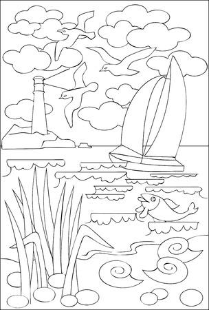 Página Con El Dibujo Blanco Y Negro Del Paisaje Marino Para Colorear ...