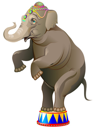 Illustration of a cheerful elephant. Vector cartoon image.