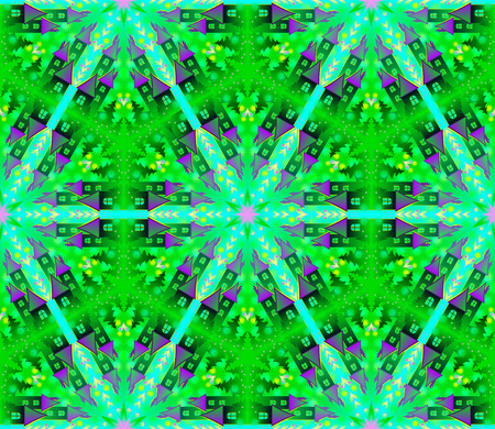 fractals: Fantastic seamless ornament in kaleidoscopic style. Vector image.