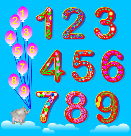 Educational page for children with set of funny numbers. Vector cartoon image.