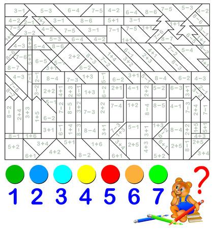 Feuille de calcul mathématique pour enfants sur l'addition et la soustraction. Résoudre des exemples et peindre l'image dans les couleurs appropriées.