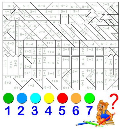 Mathematical worksheet for children on addition and subtraction. Solve examples and paint the image in relevant colors.