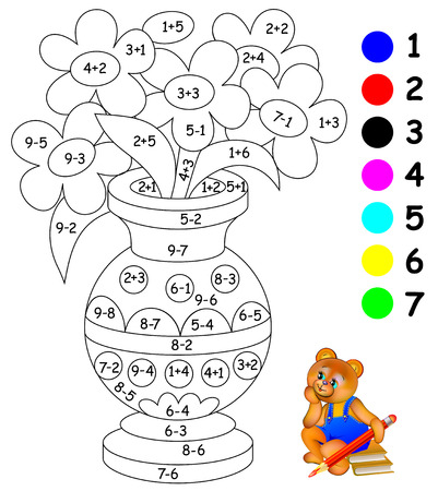 Educational page with exercises for children on addition and subtraction. Need to paint image in relevant color.