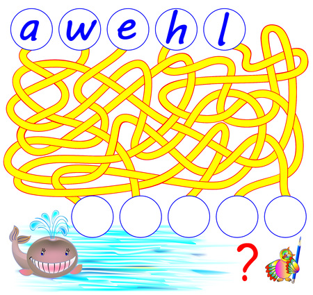 Logic puzzle game for study English. Need to find the correct places for the letters, write them in relevant circles and read the word. Vector cartoon image.