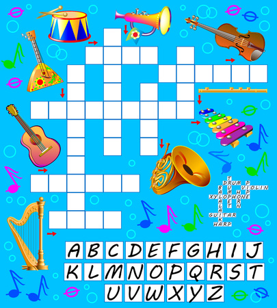 Crossword puzzle game with musical instruments. Educational page for children. Vector cartoon image.