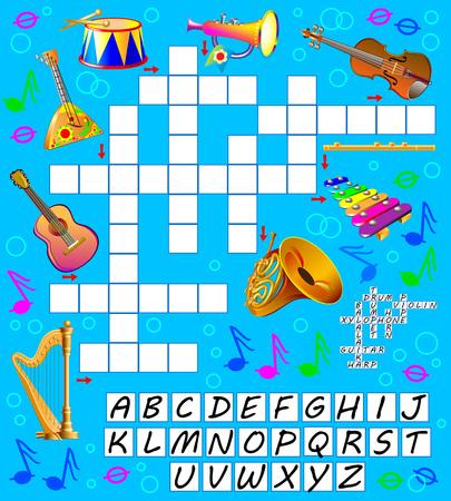 Kruiswoordpuzzelspel met muziekinstrumenten. Educatieve pagina voor kinderen. Vector cartoon afbeelding. Stock Illustratie
