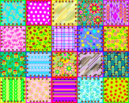 Beautiful background made of a set of cloth with different ornaments for coverlet. Seamless pattern. Vector image.