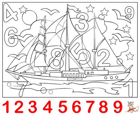 Educational page for young children. Need to find the numbers hidden in the picture and paint them. Logic puzzle game.