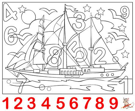 Page éducative pour les jeunes enfants. Besoin de trouver les numéros cachés dans l'image et les peindre. Jeu de puzzle logique.