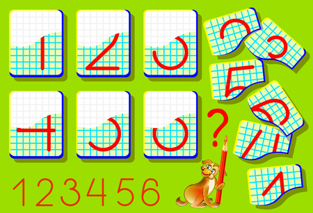 guess: Educational page for young children on a square paper. Need to find the second parts of numbers and draw them in relevant places. Logic puzzle game. Illustration