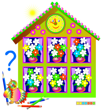 Logic puzzle game for young children. Need to paint the white flowers so that each bouquet will contain the same set.