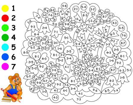 Hoja De Cálculo Matemática Para Niños Sobre Suma Y Resta. Necesita ...